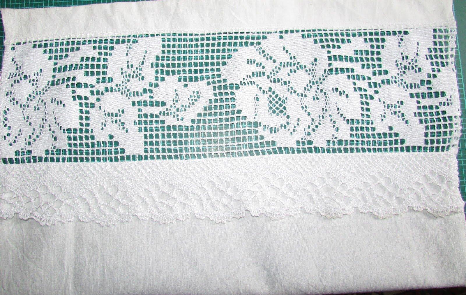 2 Rideaux Brise Bise Lin Dentelles Pompon En Crochet