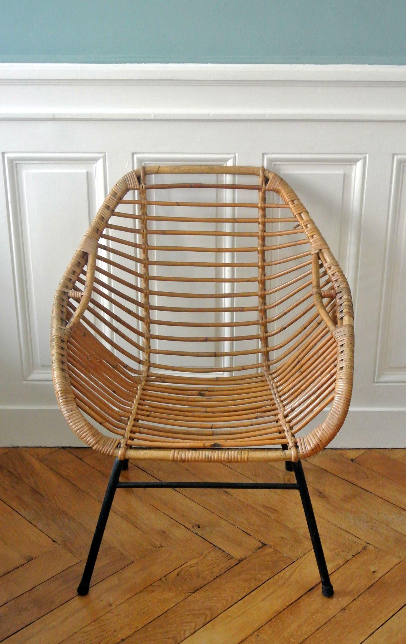fauteuil italien en rotin des annees 50