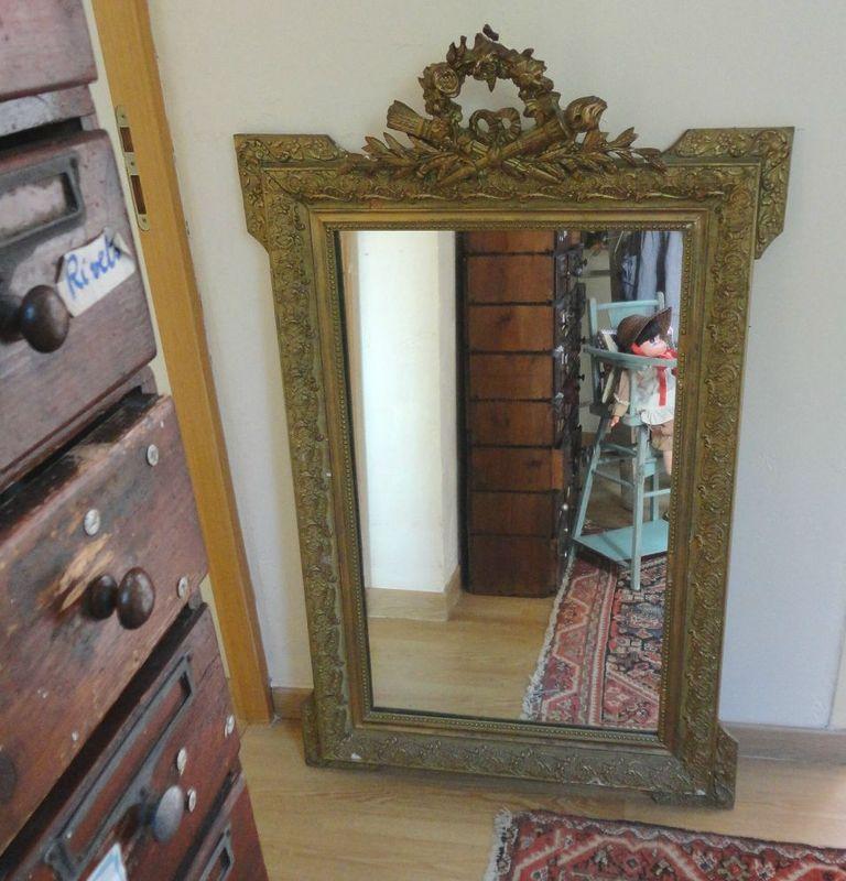 Grand Miroir Dor Ancien De Chemine Et Petit Miroir