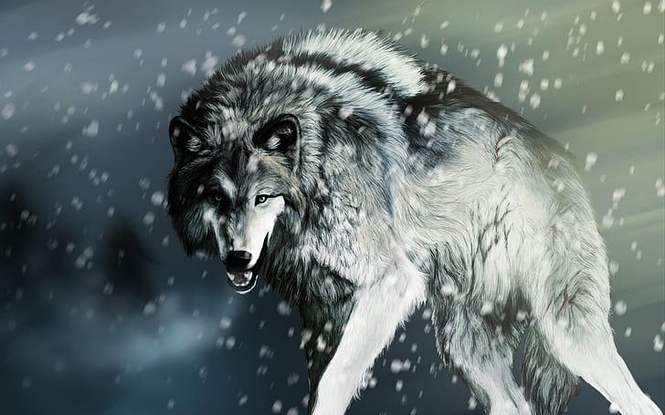 neige rendu loup fond d ecran hd
