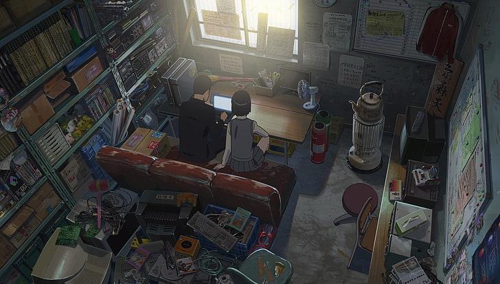 Man And Woman Sitting On Sofa Anime Kimi No Na Wa Your Name Comfy Hd Wallpaper Wallpaperbetter