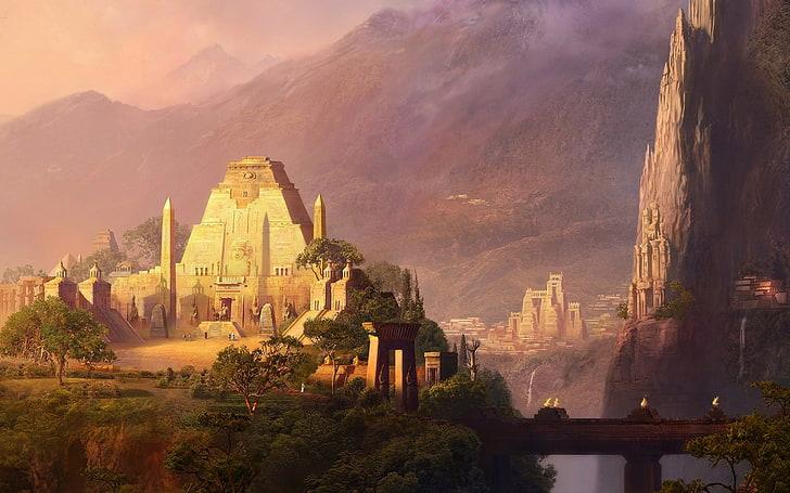 Architecture Artwork Aztec Buildings Cityscapes Landscapes Temples Hd Wallpaper Wallpaperbetter
