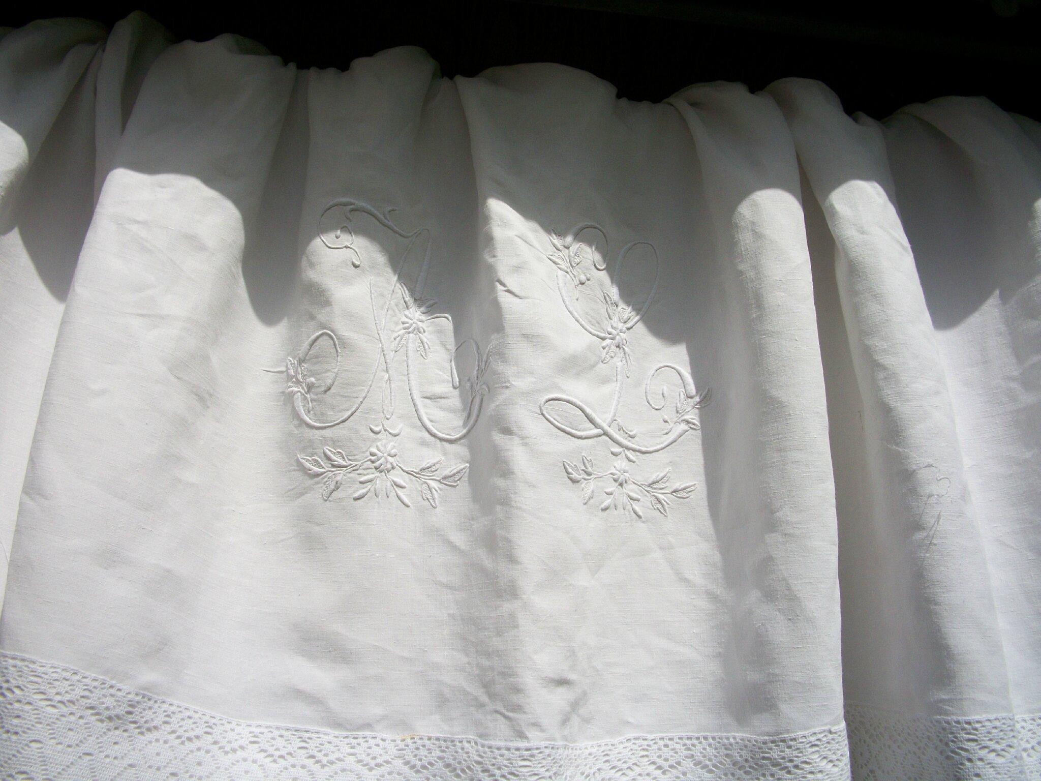 double rideaux en linge ancien grain