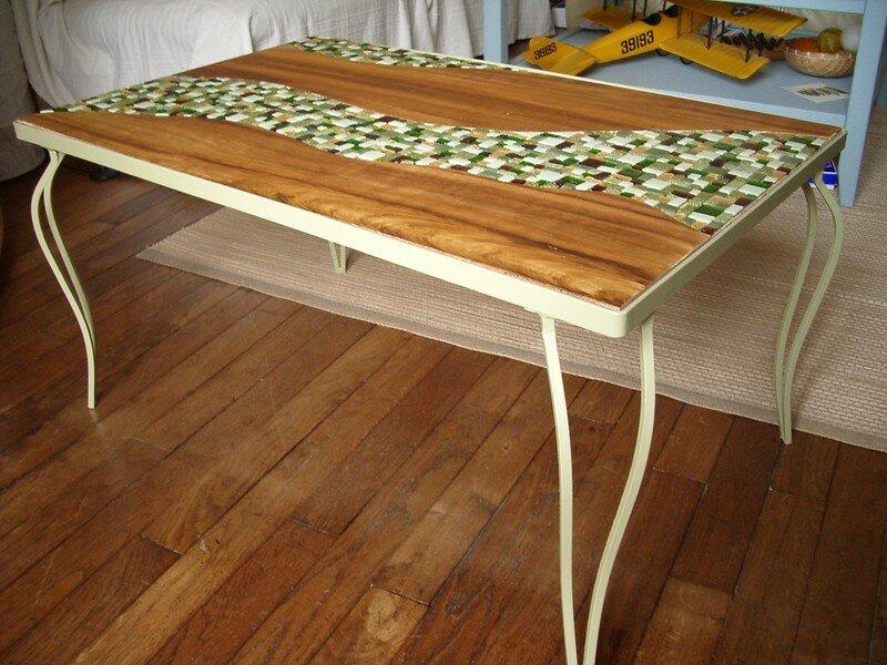 Table Faux Bois Et Pate De Verre Pied En Fer 50x80cm Photo De 3 Mosaiques Elode Domi