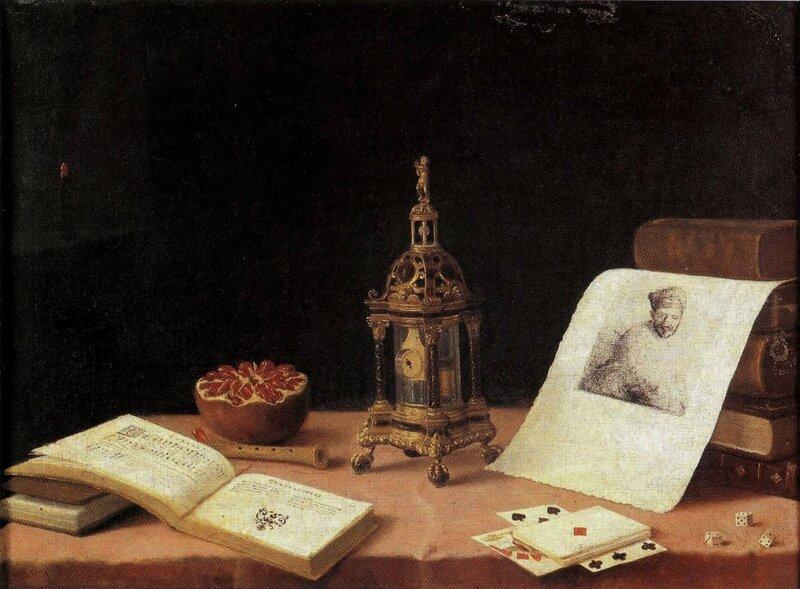 Les cinq sens à l'orloge , hst , 49 x 66cm - musée de l'oeuvre-Notre-Dame , Strasbourg