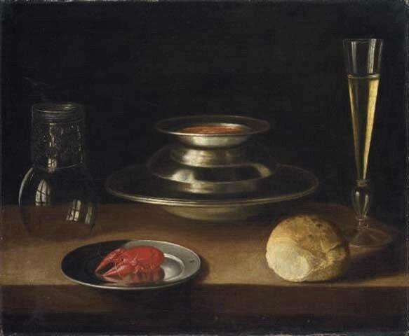 Carafe , roemer, pain , écrevisse , hst 52,7 x 63,5cm - Vt Christie's Londres 07