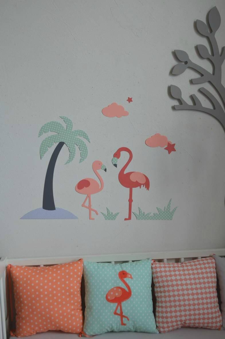 Dcoration Chambre Bb Flamant Rose Palmier Toiles