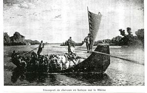 transport de chevaux en bateau sur le Rhône