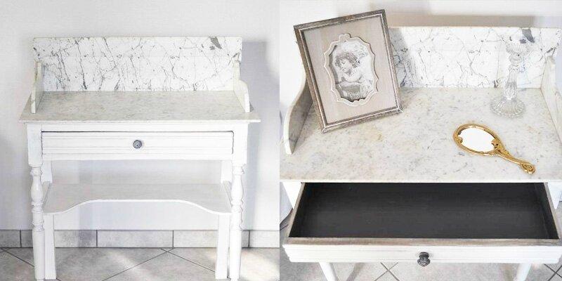 effet marbre pour un meuble en bois