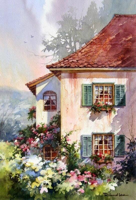Roland Lee aquarelle maison en Suisse