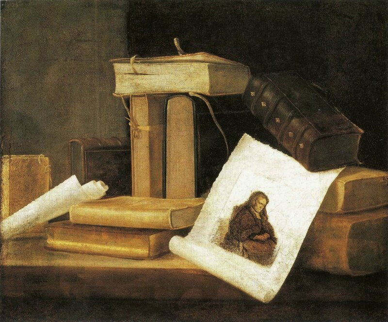 Nature morte aux livres et à la gravure de Rembrandt , hst , 50,4 x 60,7cm - Institut of Arts , Detroit , U