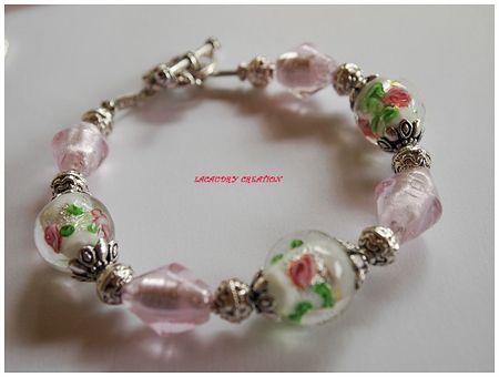 bracelet perle de verre rose et vert