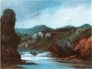 Mallet , paysage à la cascade, hst 70 x 90cm