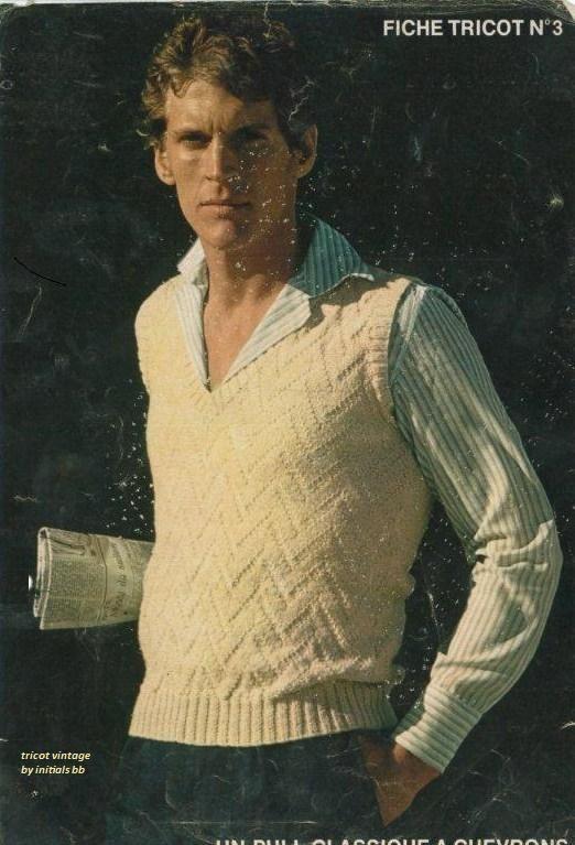 Pull Débardeur Classique à Chevrons Tricot Vintage By