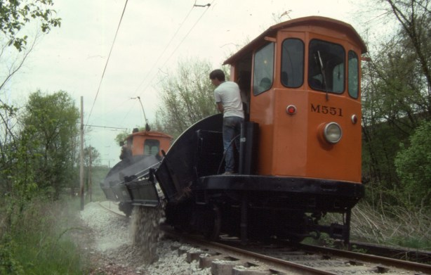 Ballasting the re-established roadbed on the Museum's Arden Valley extension in 1991.