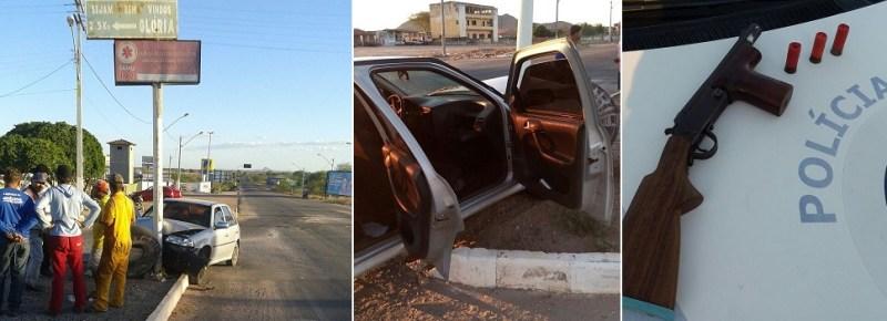Após revista no interior veículo a PM encontrou uma espingarda cal.12 de fabricação caseira.
