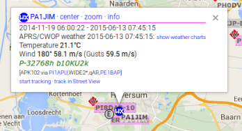 First weather data on APRS