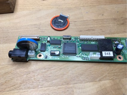 Solder new battery on front board