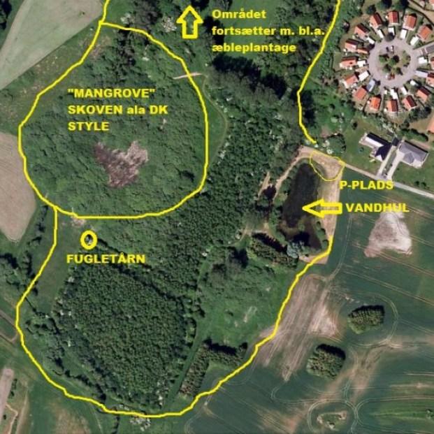 Kort over Tuse enge og Kalvemose å