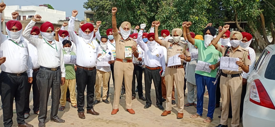 Awareness rally from Patran to Ghagga to promote 'Mission Fateh'.