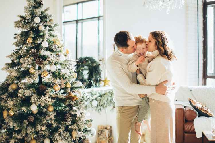 photo of a happy family at christmas time