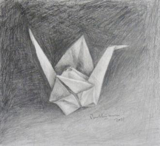 Still life, paper crane (800x729)