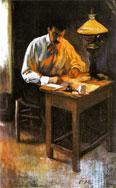 Portrait of Josep Cardona (in lamplight), 1899.