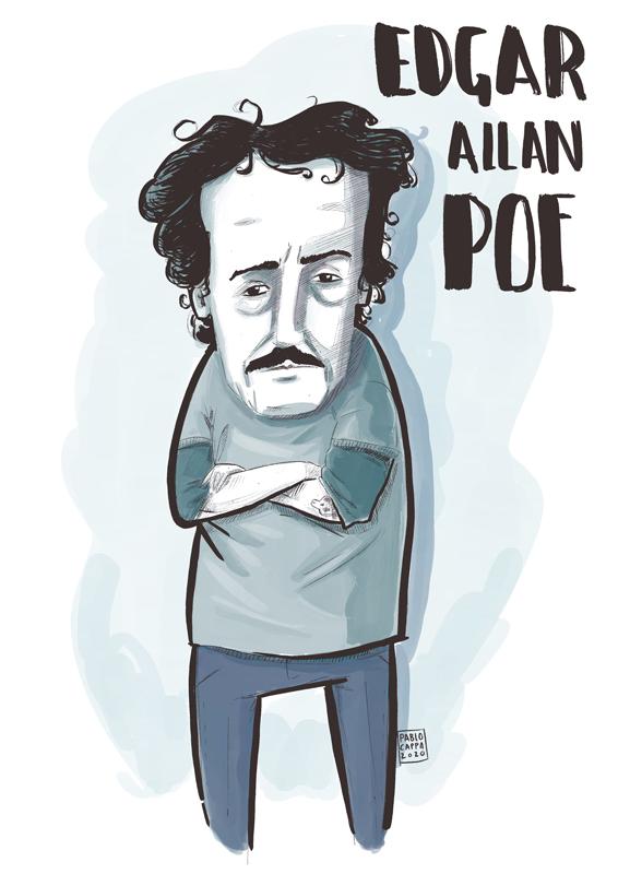 caricatura de Edgar Allan Poe