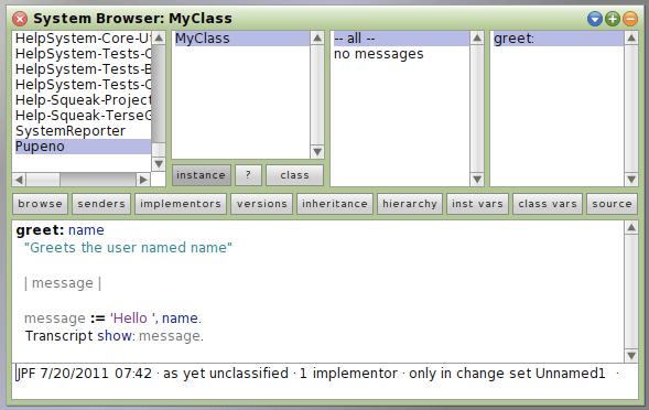 MyClass greet method