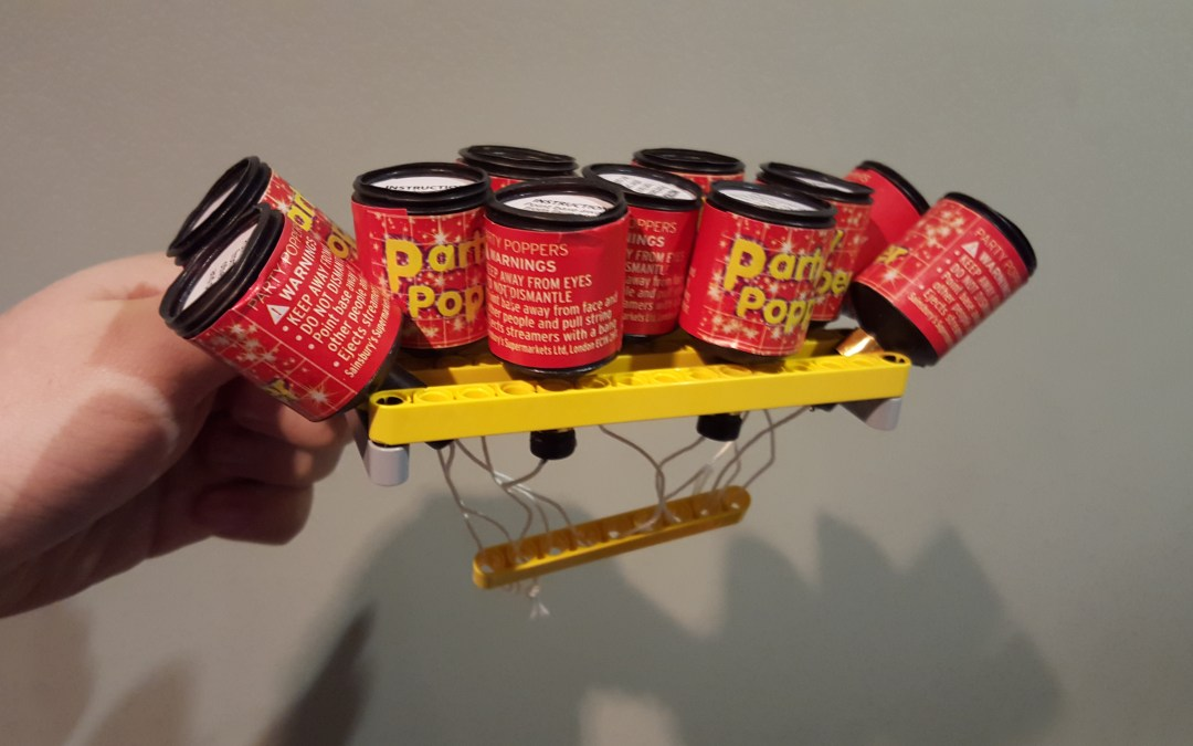 LEGO-powered multi-party-popper deployer