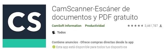 Camscanner para escanear y fotografiar documentos marcas