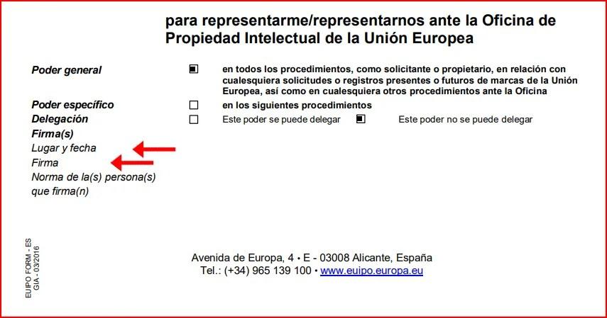 Cómo rellenar poder representacion EUIPO registro marcas europeas firma 3
