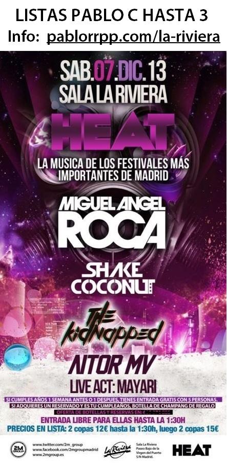 Flyer 7 Diciembre en La Riviera con Miguel Angel Roca