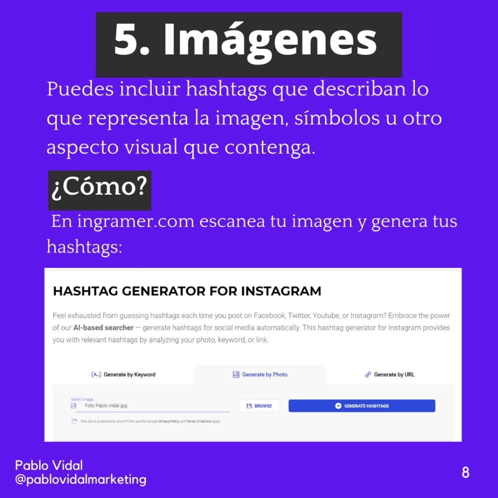 Hashtags en imágenes de Instagram