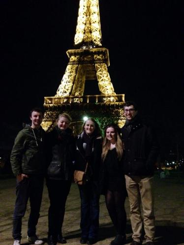 The gang at the Eiffel Tower. Thanks to Tom for the picture!