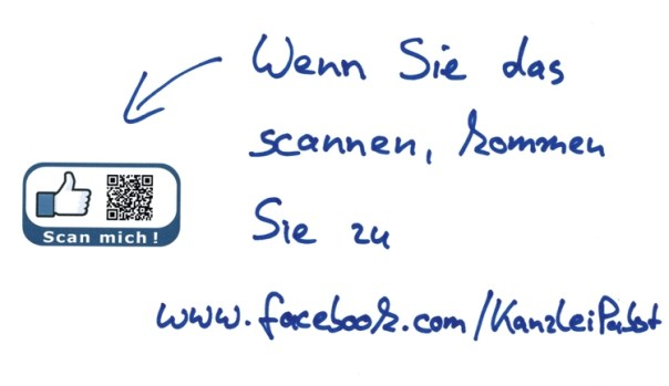 Wenn Sie das scannen, kommen Sie zu www.facebook.com/KanzleiPabst