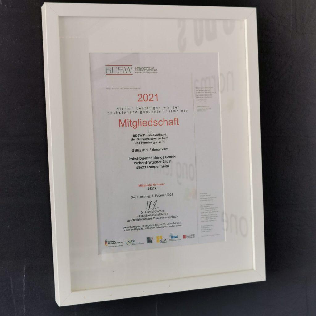 Pabst-Dienstleistungs GmbH ist Mitglied im BDSW