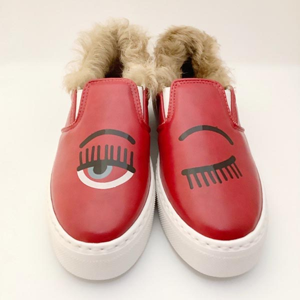 SLIP-ON CHIARA FERRAGNI RED FUR