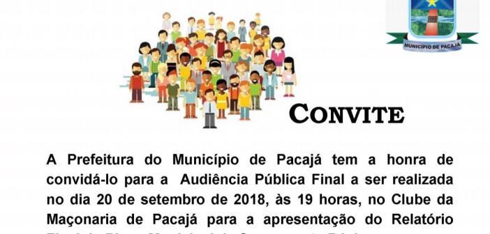 Convite: Audiência Pública em 20 de Setembro de 2018 (Apresentação do Relatório Final do Plano Municipal de Saneamento Básico)