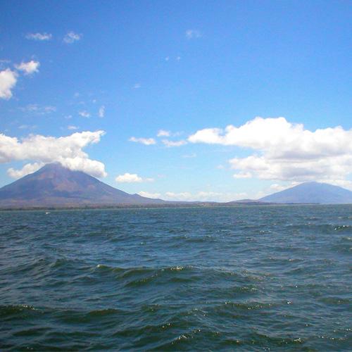 da6b77e3efd The stunning twin volcanoes of Isla de Ometepe from the ferry.