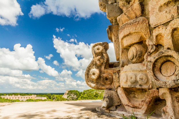 Chaac mask on Puuc Mayan architecture at Uxmal