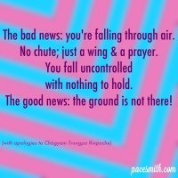 The bad news: you're falling through air. No chute, just a wing and a prayer. You fall uncontrolled With nothing to hold. The good news: the ground is not there. (with apologies to Chögyam Trungpa Rinpoche)