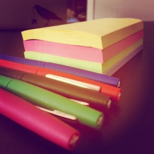 post-it notes and markers