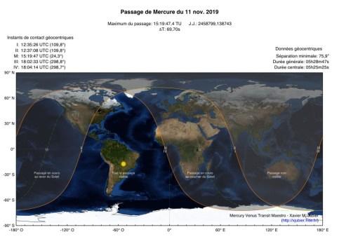 Carte de visibilité du transit de mercure