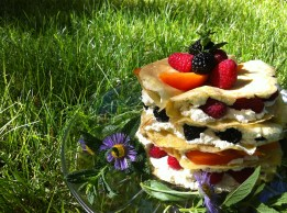 Berry Apricot Crepe Taco Stack