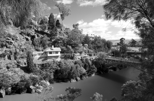 The old toll collectors' house at Cataract Gorge. Here, the South Esk flows into the Tamar.