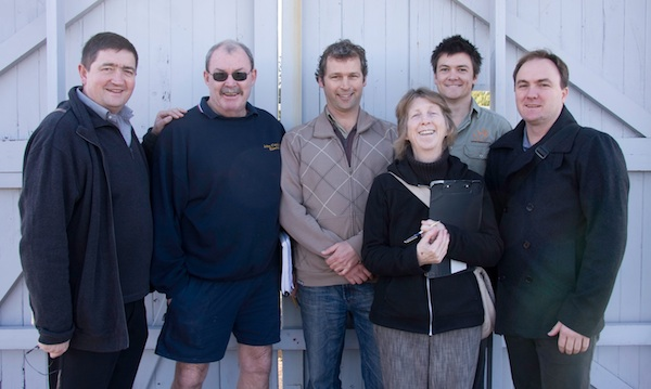 Some of the design and construction crew - from left: Peter Manganov, council's sustainability manager; water system's plumber, Shannon Black; landscape architect Steve Batley (Sydney Organic Gardens); council's project manager Fiona Campbell; Matt, builder; Archology architect, Terry Bail.