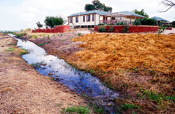 A swale water retention trench in the educational permaculture garden at Calmsley Hill City Farm in south western Sydney, seen here under construction. The installation was an Urban Landcare project designed by Sydney permaculture designer, Bronwyn Rice.