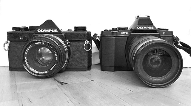 Size comparison: The OM film camera at left, compared to the digital OM5D.