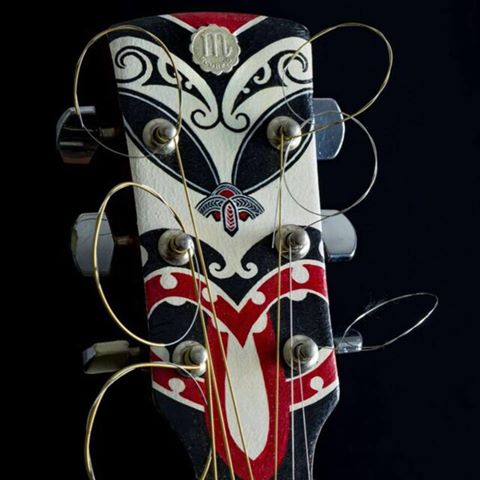 Handmade Polynesian tattoo guitar designs